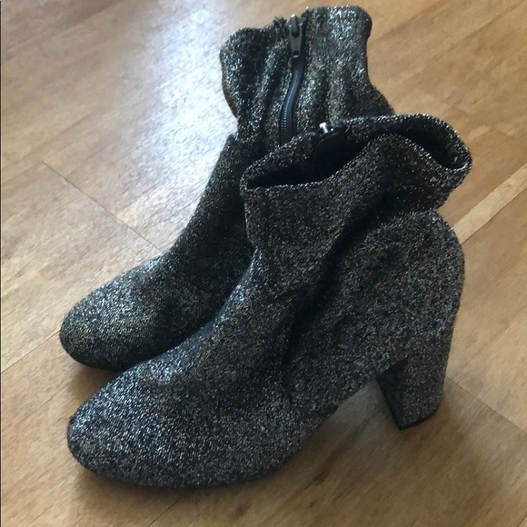 Shoes - Silver lurex sock booties